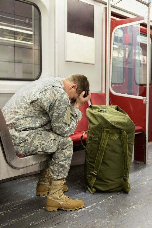 Soldier on the train